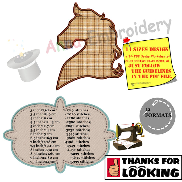 Horse Head Applique Design-Machine Applique Embroidery Patterns-Instant Download-PES
