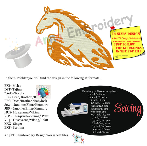 Horse Embroidery Design- Flames Horse Embroidery- Tribal Embroidery -Machine Embroidery Patterns-Instant Download-PES