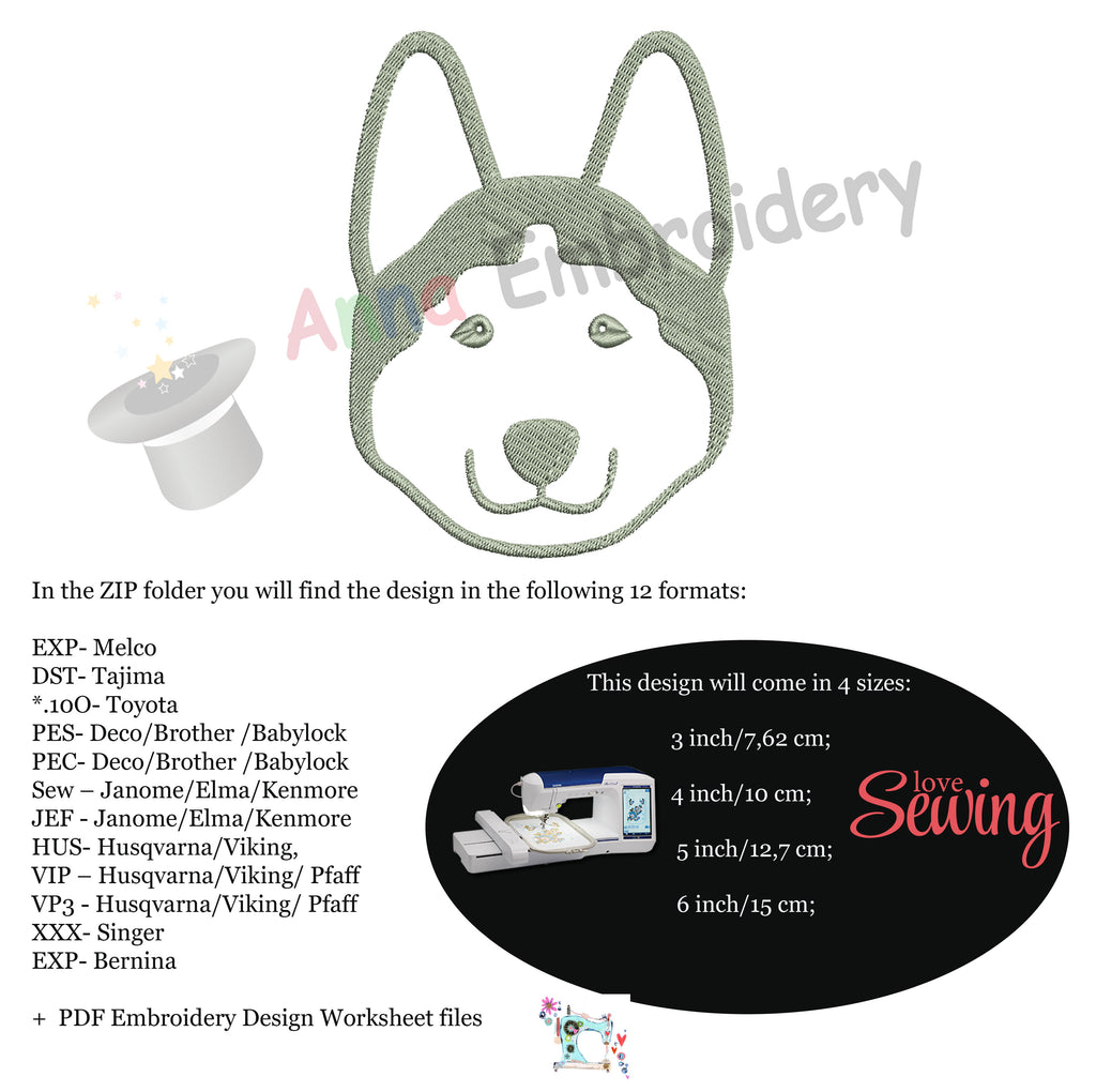 Free Husky Dog Embroidery Design, Free Animals Embroidery
