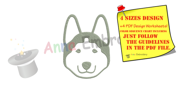 Free Husky Dog Embroidery Design, Free Animals Embroidery Design,Free Machine Patterns, Instant Download