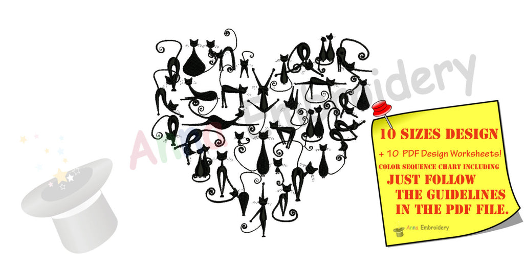 Black Cats Heart Embroidery Design, Valentine Cats Machine Pattern