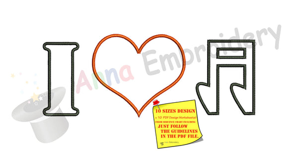 I Love Music Heart Embroidery Design