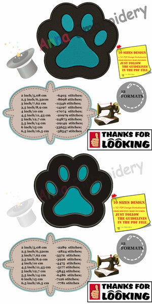 Paw Applique Embroidery design - INSTANT download-machine embroidery patterns