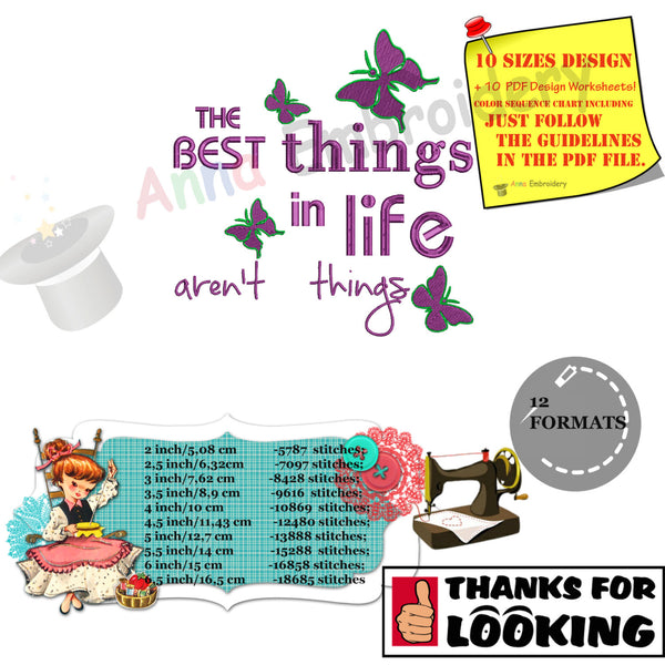 Life quotes embroidery design-The best things in life aren't things-meachine patterns