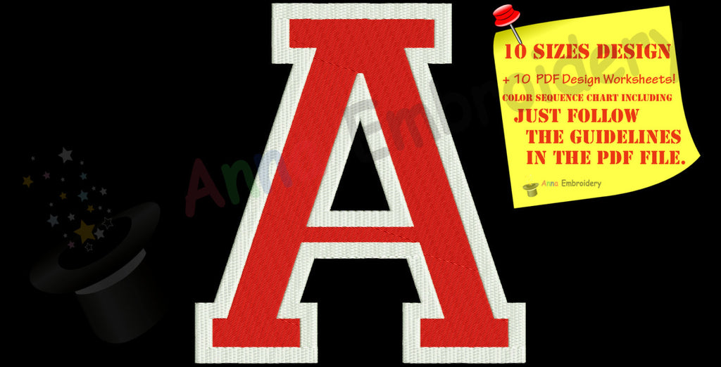 A Letter Varsity Embroidery Design-A Monogram pattern-Instant Download-PES