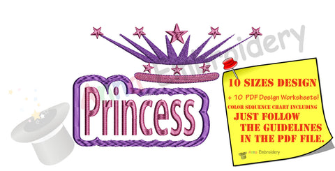 Princess Crown Embroidery Design-Disney Queen Crown- Instant Download