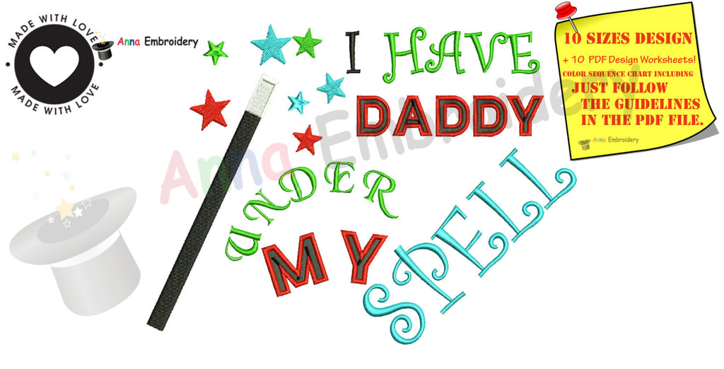 I Have Daddy Under My Spell Machine Embroidery Design Halloween