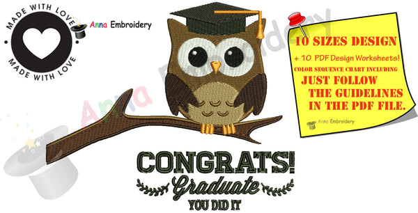 Graduation OWL Embroidery Design, Cap Embroidery Pattern,Diploma Owl, Instant Download