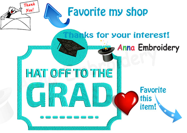 Graduation Cap - Graduation Badge Embroidery  Design - Cap Embroidery Pattern-Graduation Diploma