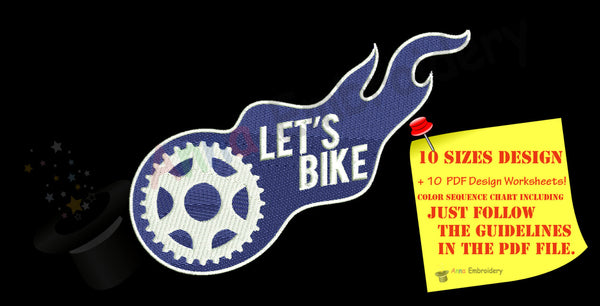 Bike Embroidery Design- Let's bike Machine patterns- Instant Download- PES
