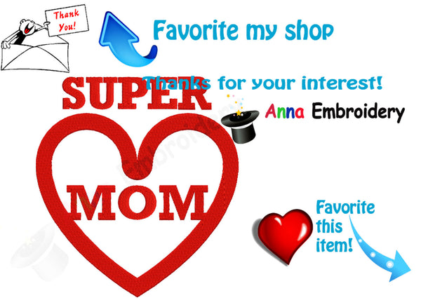 Super Mom Embroidery Design-Super Hero Text Design Pattern - Instant Download- PES