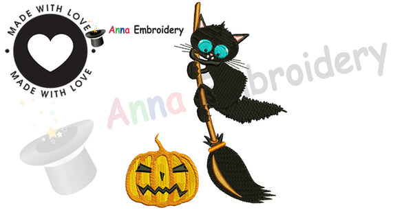 Halloween Black Cat Embroidery Design, Kitty design,Halloween pumpkin, Machine Patterns,10 sizes, 12 formats, Instant Download