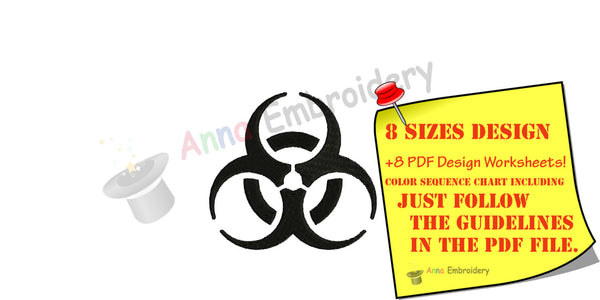 Biohazard Symbol Machine Embroidery Design,Biological danger symbol,filled stitch,machine patterns,8 sizes,8 formats