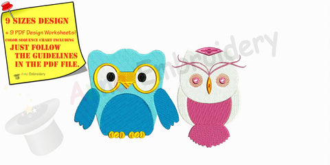 Girl Boy Baby Owl Machine Embroidery Design,Embroidery For Kids,Baby embroidery,filled stitch,machine patterns,9 SIZES, INSTANT DOWNLOAD