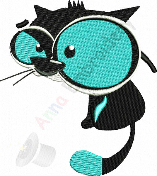 Cat embroidery, Machine embroidery design, blue cat, funny cat,kitty embroidery, animal embroidery, 8 sizes design, INSTANT DOWNLOAD