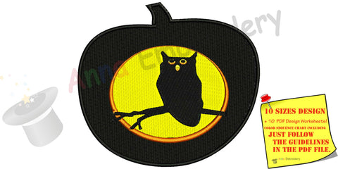 Halloween pumpkin,owl mbroidery Design,machine patterns,punpkin embroidery,filled stitch,patterns,10 sizes,11 formats,INSTANT DOWNLOAD