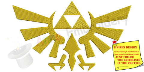 Hylian Crest machine embroidery design,Goddess Hylia,Goddess crest,Royal crest,filled stitch,machine patterns,INSTANT DOWNLOAD,4x4 5x7 6x10