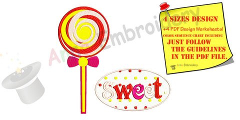 Lollipop Machine Embroidery Applique Design,sweet,Embroidery For Kids Baby,filled stitch,machine patterns,INSTANT DOWNLOAD,4x4 5x7 6x10 hoop