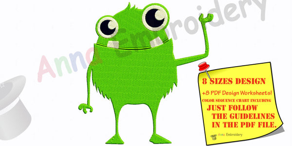 Green Monster Machine Embroidery Design,funny monster, machine embroidery, machine patterns,8 sizes design,8 formats