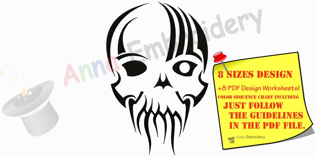 Skull Machine Embroidery Pattern,Filled stitch,skeleton embroidery, machine embroidery patterns,8 sizes design,INSTANT DOWNLOAD