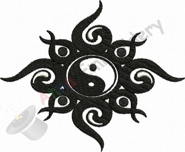 Yin YANG machine embroidery design,Filled stitch, machine patterns,8 sizes design,8 formats INSTANT DOWNLOAD