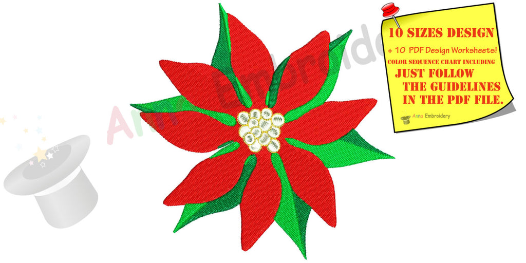Christmas Flower Machine Embroidery Design, red flower embroidery,machine patterns,10  sizes,11 formats