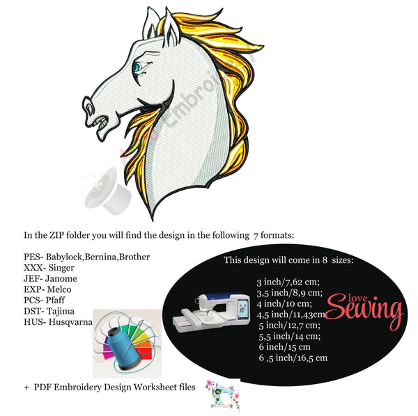 Horse machine embroidery design,white horse embroidery,machine embroidery, machine patterns,8 sizes design, INSTANT DOWNLOAD