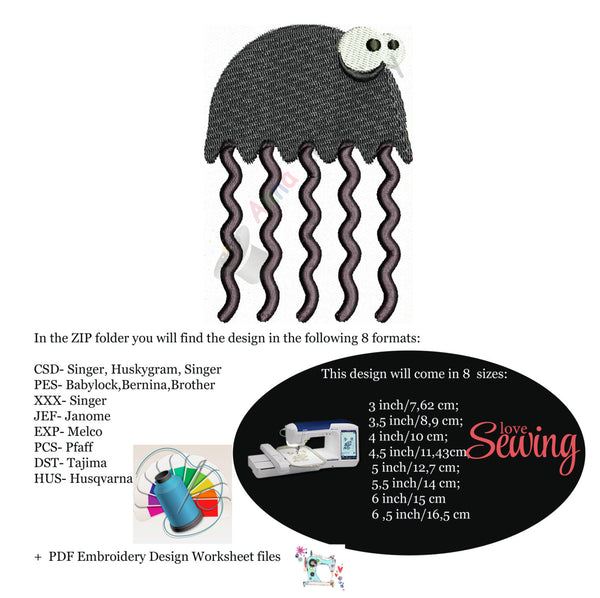 Jellyfish Machine Embroidery,medusa embroidery, machine embroidery, machine patterns,8 sizes design, INSTANT DOWNLOAD