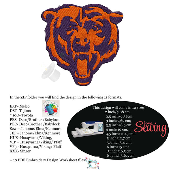 Bear Embroidery Design, sport embroidery, football embroidery, machine patterns,filled stitch,patterns,10 sizes,11 formats