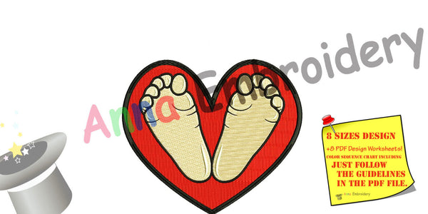 Baby feet embroidery design, baby feet machine embroidery, baby feet heart design,Newborn embroidery design,8 sizes design,INSTANT DOWNLOAD