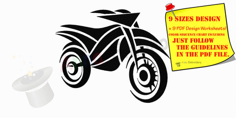 Motorbike Bike machine embroidery pattern,embroidery design, filled stitch,machine patterns,9 sizes design,8 formats