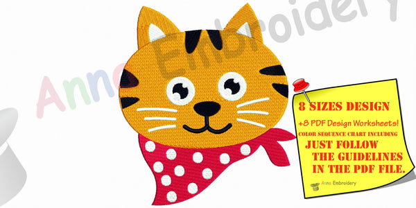 Cat embroidery, Machine embroidery design,scarf cat,funny cat,kitty embroidery, animal embroidery, 8 sizes design, INSTANT DOWNLOAD