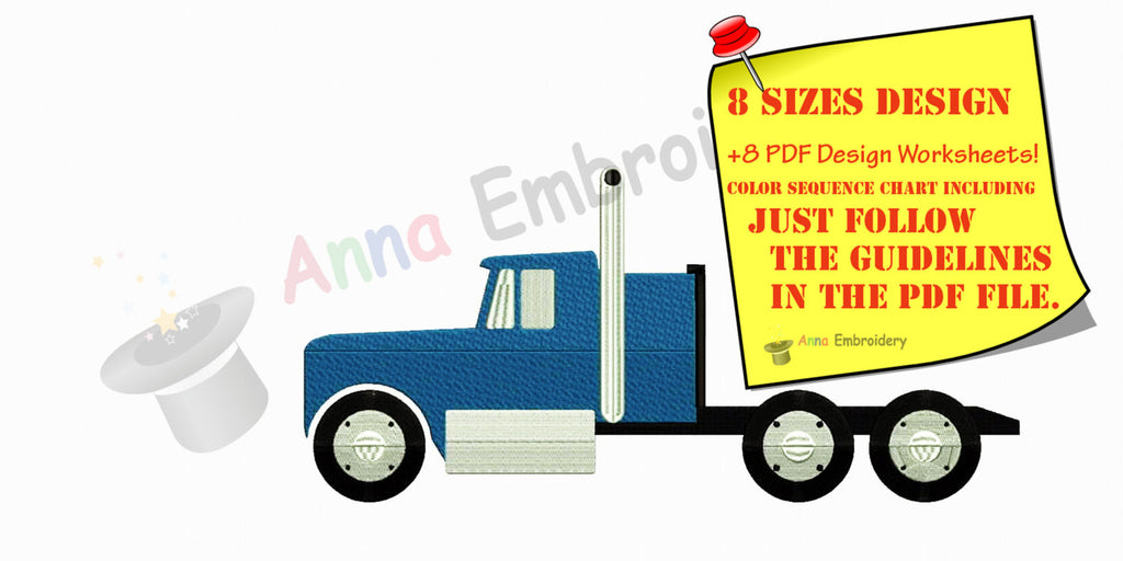 Truck Machine Embroidery Design,truck,kids,machine embroidery, filled stitch,machine patterns,8 sizes design, INSTANT DOWNLOAD