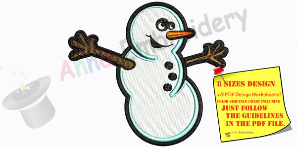 Christmas Snowman Machine Embroidery,Winter snowman, machine embroidery, machine patterns,8 sizes design, INSTANT DOWNLOAD