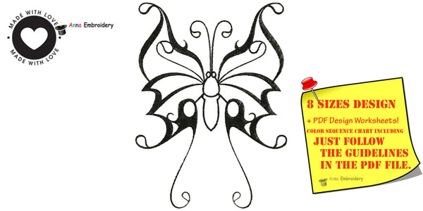 Butterfly machine embroidery design,tribal butterfly, embroidery design, filled stitch,machine patterns,8 sizes design, INSTANT DAWNLOAD