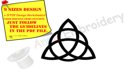 Triquetra Celtic Knot Machine Embroidery Design,Celtic symbols,Spiritual,filled stitch,machine patterns,9 sizes,8 formats,INSTANT DOWNLOAD