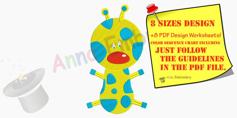 Giraffe baby Machine Embroidery,Applique,kids,baby embroidery,Animal Safari,filled stitch,machine patterns,8 SIZES,INSTANT DOWNLOAD