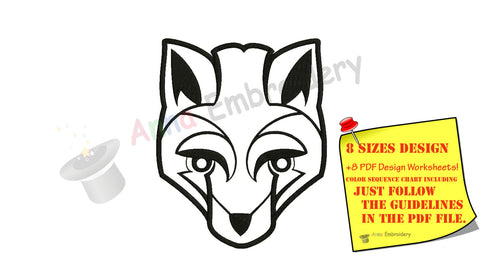 Fox Machine Embroidery Design, Fox Design, Embroidery Fox Filled stitch, machine patterns,8 sizes design, INSTANT DOWNLOAD