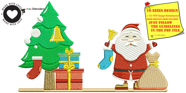 Santa presents and tree embroidery design,machine patterns,filled stitch