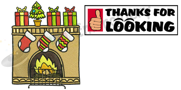 Chistmas fireplace embroidery design,christmas decorations, machine patterns,filled stitch,patterns,10 sizes, 8 formats,INSTANT DOWNLOAD