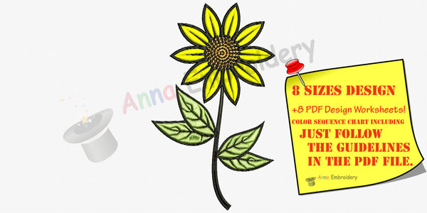 Sun Flower, Sun Flower embroidery, Machine embroidery design,8 sizes design, INSTANT D0WNLOAD