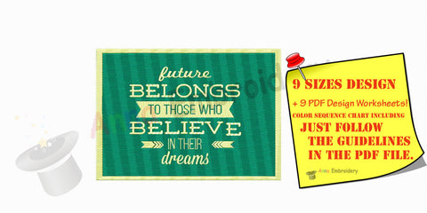 Believe in your dreams Quote Machine Embroidery  Design,word art embroidery,filled stitch,machine patterns,8 sizes design,INSTANT DOWNLOAD