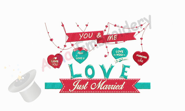 Just Married machine embroidery design,wedding embroidery,anniversary design,filled stitch,machine patterns,8 sizes design, INSTANT DOWNLOAD