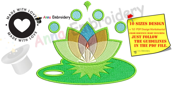 Lotus Flower machine embroidery design,lotus embroidery,machine patterns, 10 sizes, 11 formats