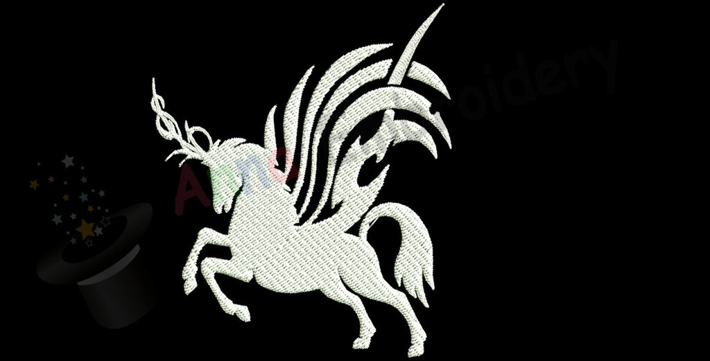 Unicorn silhouette machine embroidery,filled stitch,machine patterns,8 sizes design, INSTANT DOWNLOAD