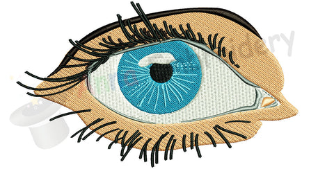 Blue eye machine embroidery design, realistic eye embroidery,eye with long lashes
