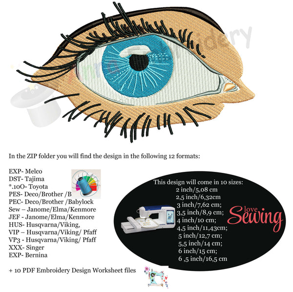 Blue Eye Machine Embroidery Design, Realistic Eye
