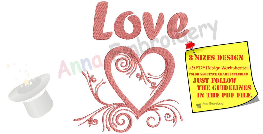 Valentine S Day Love Heart Machine Embroidery Flourish Heart Design
