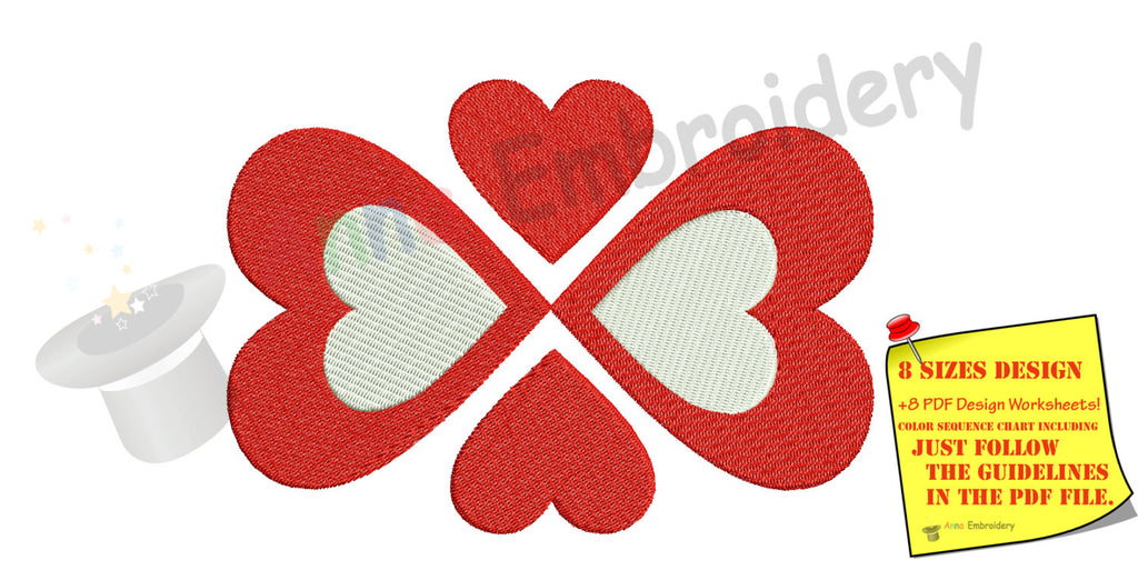 Valentine S Day Heart Machine Embroidery Design Four Leaf Clover