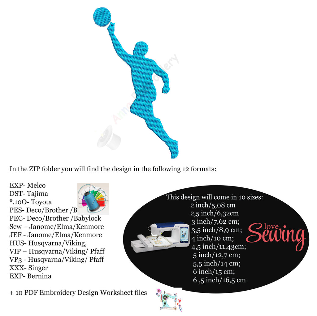 Sports Man Machine Embroidery Design Ball Embroidery Sport